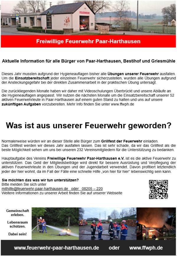 """Flyer der Freiwilligen Feuerwehr Paar - Harthausen """"Was ist aus unserer feuerwehr geworden"""""""